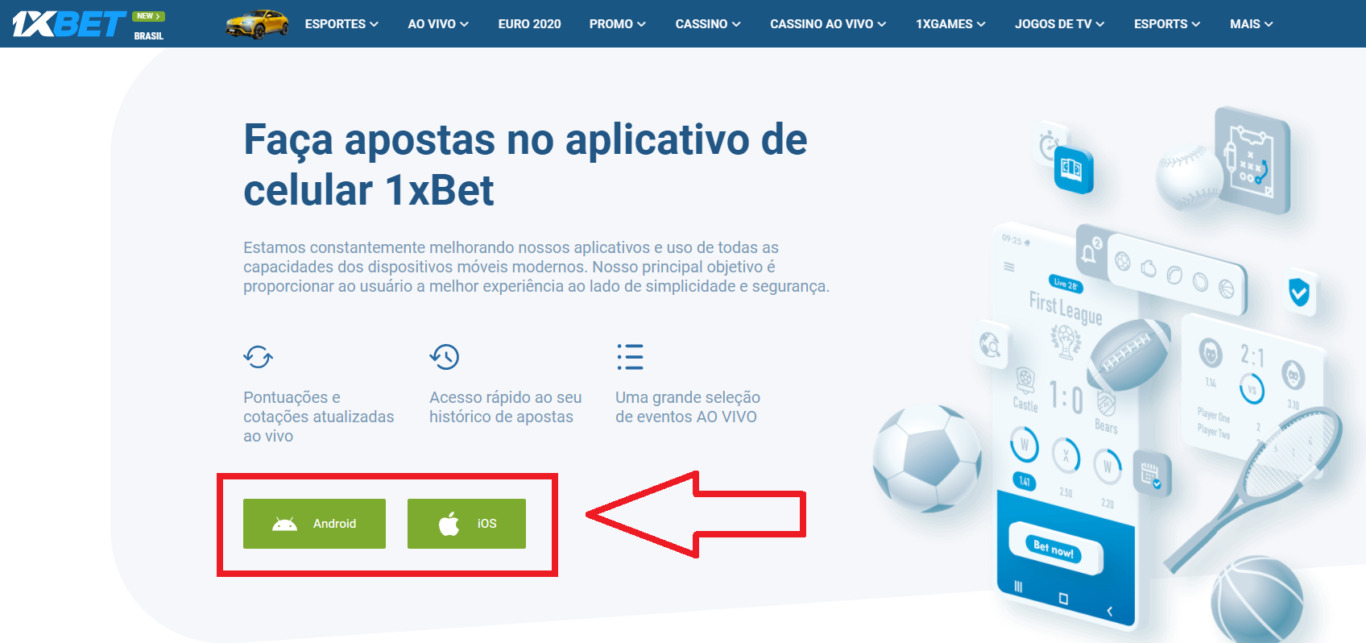 Qualitativo 1xBet app para jogadores de Brasil